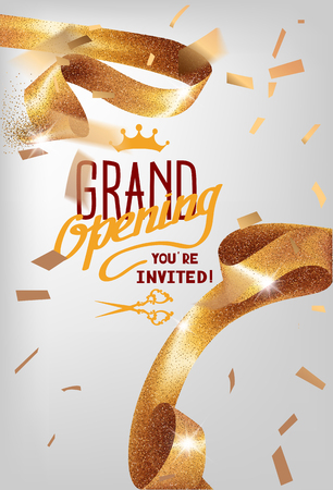 Grand opening invitation card with sparkling curly elegant ribbon. Vector illustration