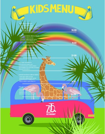 Kids menu background with rainbow, palm leaves, bus and african animals inside. Vector illustration Illustration
