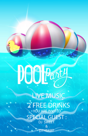 Pool party poster with inflatable balls. Vector illustration