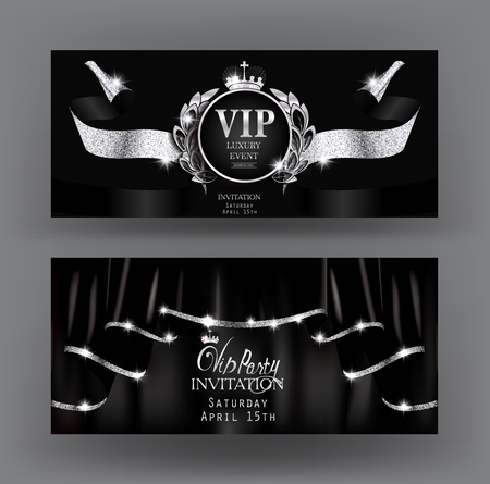 rim: Vip invitation banners with black curtains with silver sparkling rim and sparkling ribbon. Vector illustration