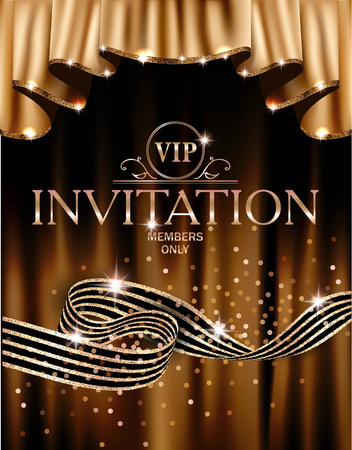 VIP invitation card with gold curtains on the background and striped ribbon. Vector illustration