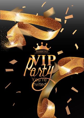 VIP invitation card with sparkling gold curly elegant ribbon. Vector illustration