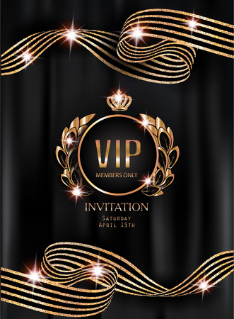 privilege: VIP invitation card with striped curly ribbons, vintage frame and black curtains on the background. Vector illustration