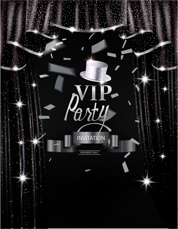 platinum: Vip party invitation card with black shiny curtains with silver sparkling edge. Vector illustration