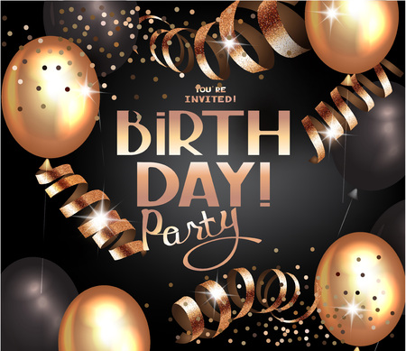 private club: Happy Birthday background with air balloons and serpentine. Vector illustration