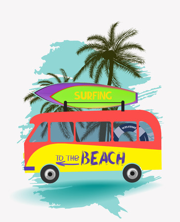 Surfing boards, bus and palm trees. Concept. Vector illustration