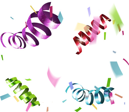 Background with colorful sparkling curly serpentine and confetti. Vector illustration