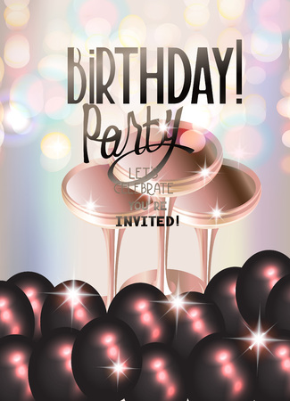 private club: Birthday party banner with black air balloons and glasses of champagne. Vector illustration. Beige