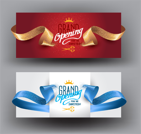 Grand opening background with curly cut ribbons. Vector illustration
