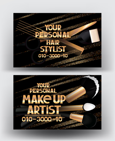 Hairstylist and makeup artist gold business cards with tools. Vector illustration Illustration