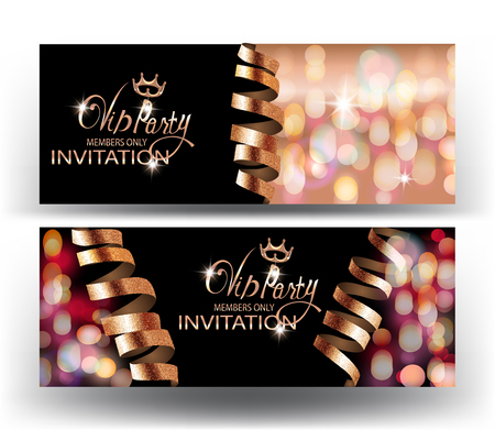 VIP invitation banners with sparkling curly serpentine and confetti. Vector illustration