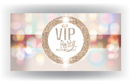 Vip invitation card with blurred background and sparkling gold round frame. Vector illustration