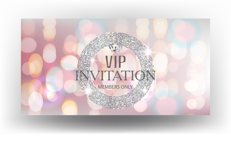 platinum: Vip invitation card with blurred background and sparkling silver round frame. Vector illustration