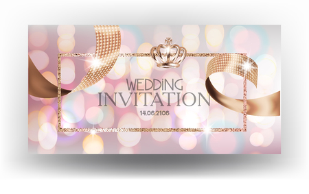 Wedding invitation card with blurred background and sparkling ribbon. Vector illustration
