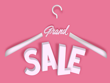 Sale banner with big letters and hanger