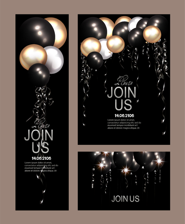Set of Invitation cards with air balloons and serpentine
