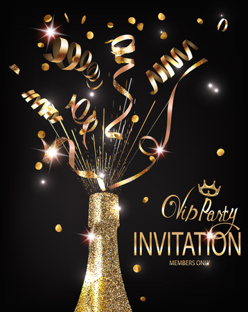 VIP Party invitation shiny banner WITH GOLD TEXTURED SERPENTINE AND BOTTLE OF CHAMPAGNE. VECTOR ILLUSTRATION
