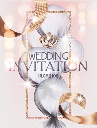 Carte d'invitation de mariage avec la couronne d'or, le cadre et le ruban, balloojn d'air couvert de tissu transparent. Illustration vectorielle Vecteurs