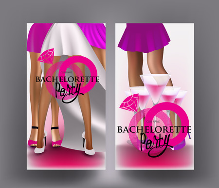 Bachelorette party banner with abstract ring and legs of young ladies. Vector illustration