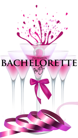 Bachelorette party banner with pink ribbon, ring and glasses with cocktail. Vector illustration