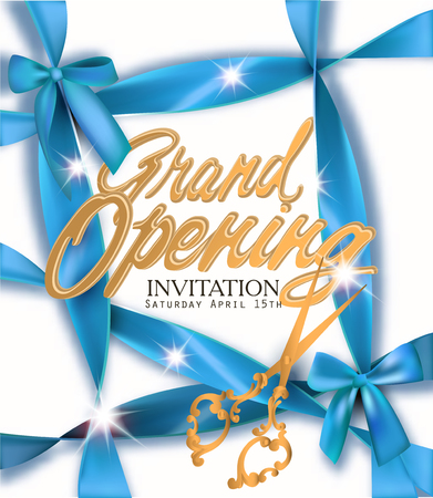 Grand opening banner with blue ribbons. Vector illustration