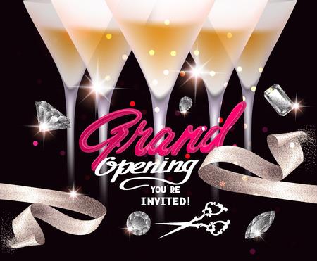 Grootse opening banner met glazen champagne, decoratieve lint en diamanten. Vector illustratie
