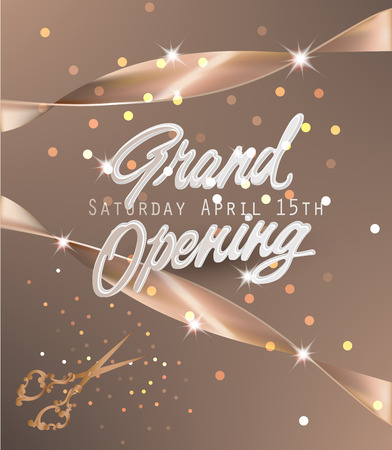Grand opening beige banner with silk ribbons and scissors. Vector illustration