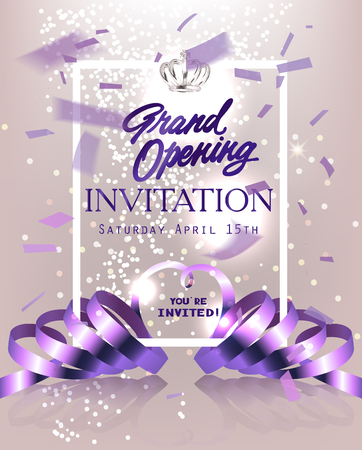 Grand Opening invitation card with flying confetti, curly ribbons and crown. Vector illustration