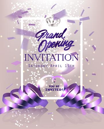 Tarjeta de invitación de gran apertura con confeti de vuelo, cintas rizadas y corona. Ilustración vectorial