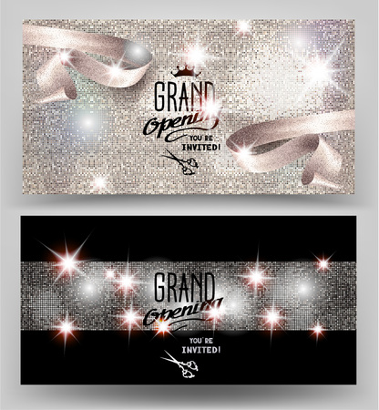 Grand opening invitation shiny cards with sparkling elegant ribbon. Vector illustration