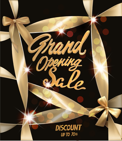 Grand Opening Sale banner with gold ribbons and bows. Vector illustration