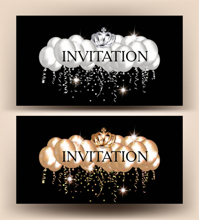 Invitation cards with gold and silver air balloons and confetti. Vector illustration 矢量图像