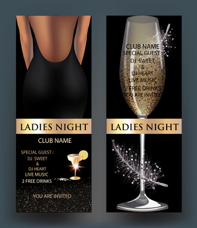 Ladies night banners. Vector illustration