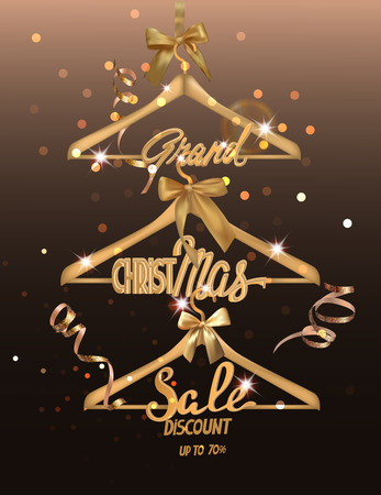 Christmas Sale banner with sparkling gold serpentine and gold hangers. Vector illustration