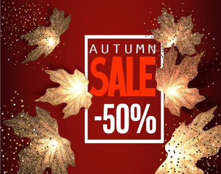 Autumn SALE background with falling gold maple leaves. Vector illustration Illustration
