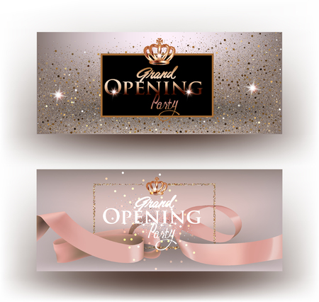Beige grand opening party invitation cards with sparkling dust, frame and ribbon. Vector illustration