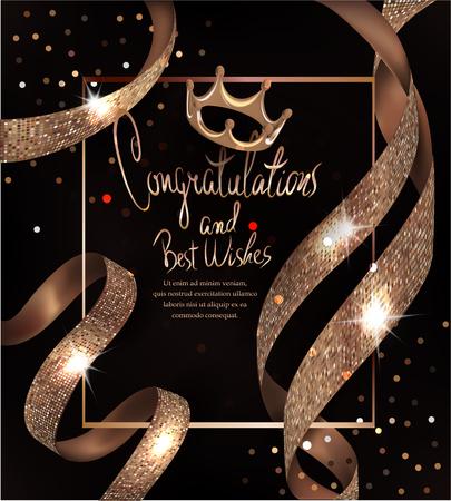 お祝いの言葉と美しいリボンとカード。ベクトル図  イラスト・ベクター素材