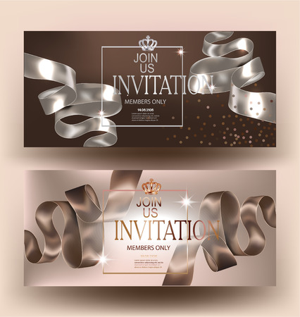 Elegant beige invitation cards with silk curly ribbons and grown. Vector illustration
