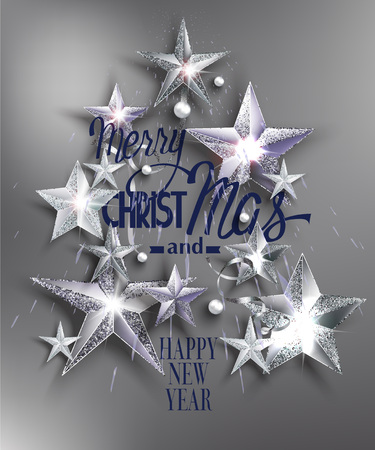 privilege: Merry christmas greeting card with stars. Vector illustration