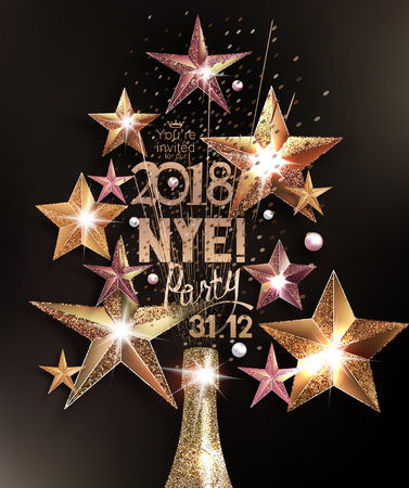 privilege: New year eve party greeting card with sparkling stars and a bottle of champagne arranged in shape of a christmas tree. Vector illustration