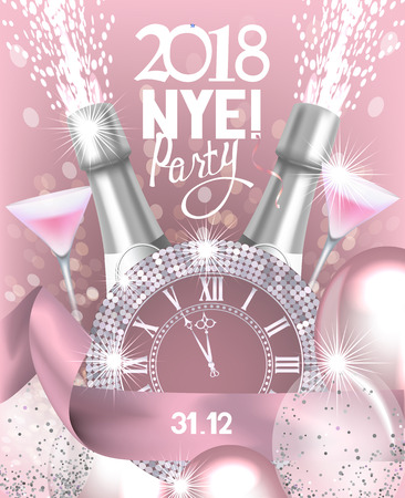 New year eve party invitation card with a bottle of champagne, glasses, watch and air balloons. Vector illustration