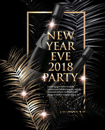 New year eve Party invitation card with christmas tree branches. Gold and black. Vector illustration