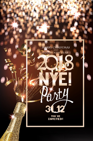 New year eve party invitation card with defocuced lights on the background, bottle of champagne and serpentine. Vector illustration