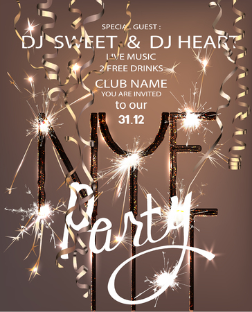 New year eve party invitation card with sparklers and serpentine. Vector illustration