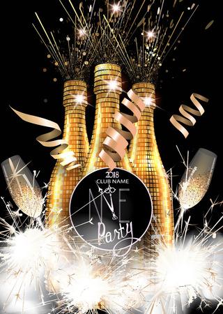 Nieuwe de uitnodigingskaart van de jaarpartij met flessen champagne, glazen en sterretjes. Vector illustratie
