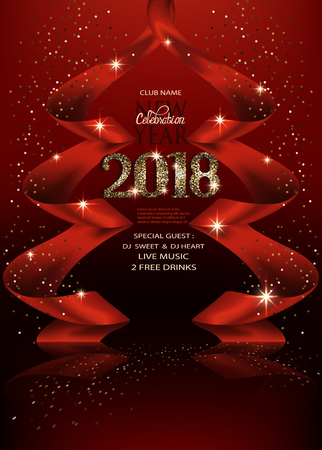 Red new year background with ribbons made in shape of a christmas tree and gold letters. Vector illustration Illustration