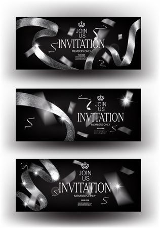 VIP silver luxury invitation cards with sparkling curly ribbons. Vector illustration Illustration