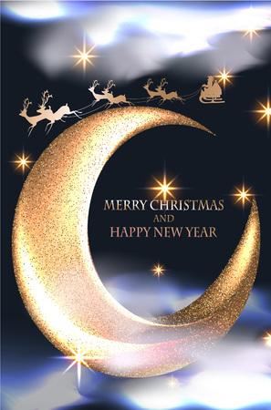 Kerstmisachtergrond met gouden sterren, wolken, rendier, Kerstman en maan. Vector illustratie Stock Illustratie