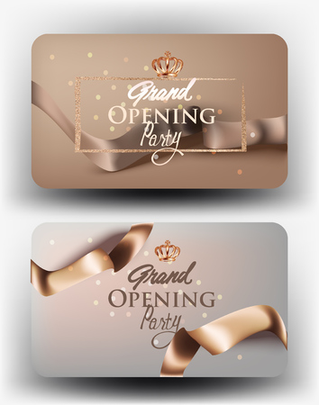 Grand opening beige cards with realistic ribbons. Vector illustration