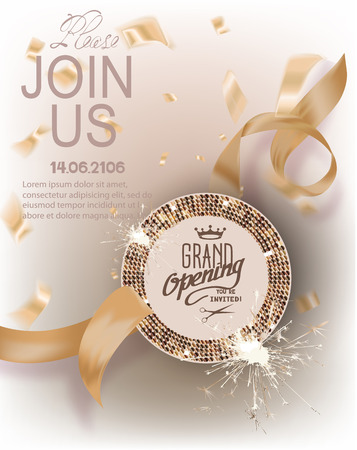 Grand opening gold invitation card with curly ribbons, round frame with pattern and confetti. Vector illustration